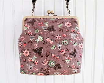"Taupe Brown Coral and Mint Small Floral Print Vintage Barkcloth Fabric 8"" Antique Brass Kisslock Frame Crossbody Shoulder Bag Purse"
