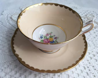 Collingwoods Bone China Tea Cup and Saucer, Peach with Colourful Hand Painted Floral Interiors and Gold Trim