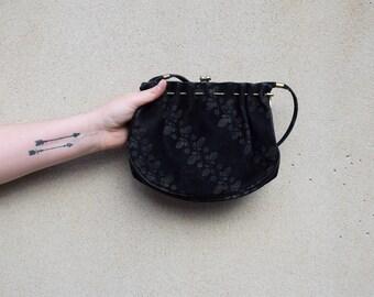 Vintage black suede shoulder bag, 1960s