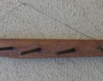 Antique Country Hand Carved Wooden Shoulder Yoke Bucket Carrier Converted to Wall Rack