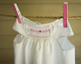 Simple White back open dress for baby