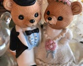 Vintage Ceramic Bride and Groom Bear / Vintage Homco Bride and Groom Ceramic Bear / Wedding or Anniversary Cake Topper / 80s Made in Taiwan