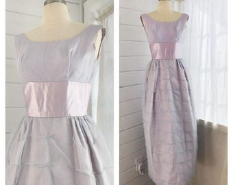 1960s Lavender and Pink Formal Gown / Vintage Prom Dress with Pearl Accents / Midcentury Modern Prom Dress