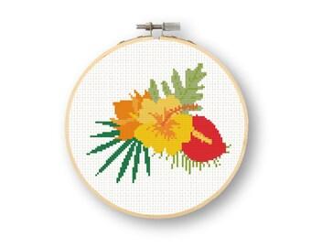 Hawaiian Flower Cross Stitch Pattern Instant Download Anthurium Embroidery Flowers Tropical Plants Stitch Pattern Greenery Decor Modern DIY