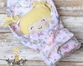 "Small 10"" Baby Bunting Little Girl Doll with Her Pink Bunny Blanket for Little Hands"
