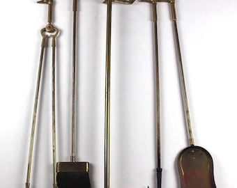 Vintage Brass Fireplace Tools Fireplace Set Duck Head