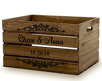 Rustic Wood Storage Crate, Personalized Wood Crate