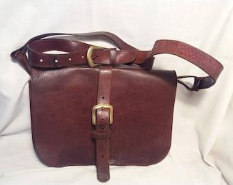 Vintage Dark Brown Leather Hunting Bag - Shoulder Bag