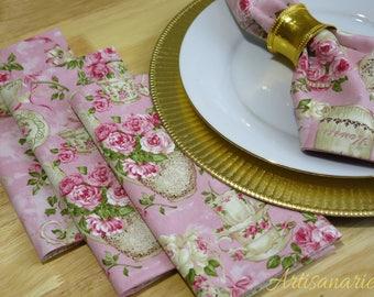 Rose Garden Dinner Napkins | Tea Party Napkins | Set of 4 Dinner Napkins | Reusable Cloth Napkins | English Roses | Romantic Kitchen Decor
