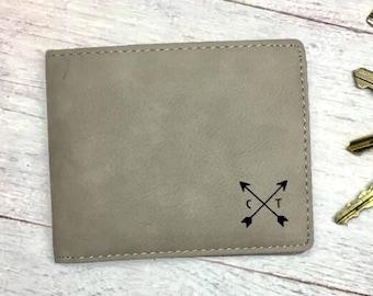 Personalized Men's Wallet – Men's Leather Wallet – Custom Leather Wallet - Groom Gift - Boyfriend Gift - Husband Anniversary Gift -