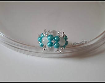 Blue and white cross Pearl ring,