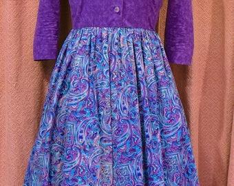 woman's dress, 1950's, purple paisley print, new, homemead