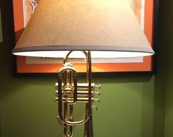 Vintage Cornet Lamp / Vintage Trumpet Lamp / Musical Instrument  Hand Made Lamp / Mid Century Table Lamp / Musical Instruments Decor