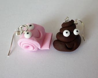 "Earrings fimo funny: ""the POO and her pink toilet paper"" depareillees"