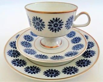Vintage Tea Set Trio, Fine China Echt Kobalt, Dessert set, Tea cup, Saucer, Dessert Plate, Made in Germany, 80s