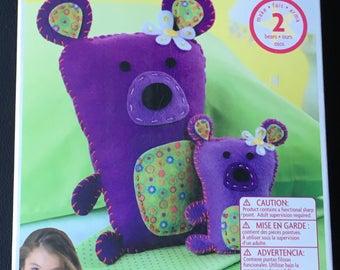 American Girl Craft Kit Sew & Stuff Purple Teddy Bear Felt Make 2 Bears Bear For You And Doll 45 Pieces Kids Girl Craft DIY