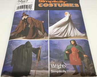 Simplicity Sewing Pattern 9887 Lotr Wizard Witch Wicca Death Cape Cloak Tunic Hood Hooded Grimm Reaper Costume Cosplay  XS S M L XL Uncut FF