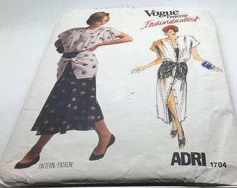 Vogue Sewing Pattern 1704 Adri Individualist Dress Shirt Skirt Top Loose Fitting A Line Dress Above Ankle Maxi Flared Skirt Size 8 Uncut FF