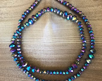 "Crystal Cut Beaded Necklace 26"", 28"" and 32"""