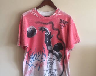 Vintage Michael Jordan T Shirt. 1990s Jordan T Shirt. Michael Jordan. All over print T Shirt.