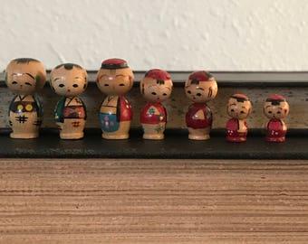 Collection of Eight Vintage Miniature Japanese Kokeshi Dolls
