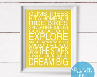Explore Printable Art, Nursery Wall Art, Climb Trees Quote Printable, Boy's Room, Girl's Room, Mustard Yellow Nursery, Instant Download