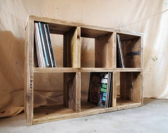 Reclaimed Wood Vinyl Storage Unit