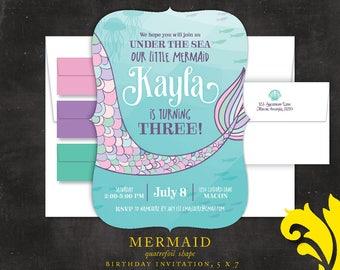 MERMAID . birthday invitation