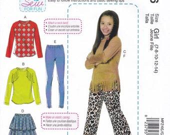 FREE US SHIP Sewing Pattern  McCalls 246 7463 Girls Sew for fun Fringe Top Leggings Pants skirt Ruffles  Size 7/14 7 8 10 12 14 Uncut New
