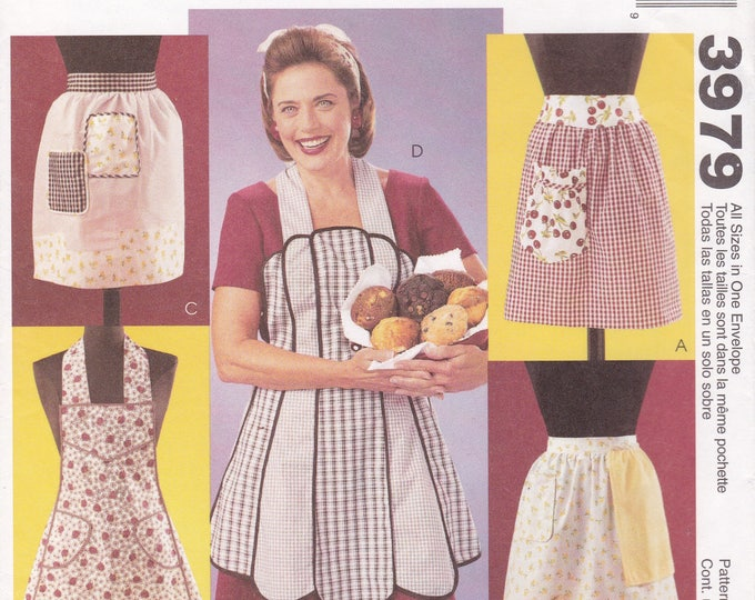 FREE US SHIP McCalls 3979 Craft Sewing Pattern Uncut Factory Folded Half Full Bib Vintage Apron Aprons Reproduction Out of Print