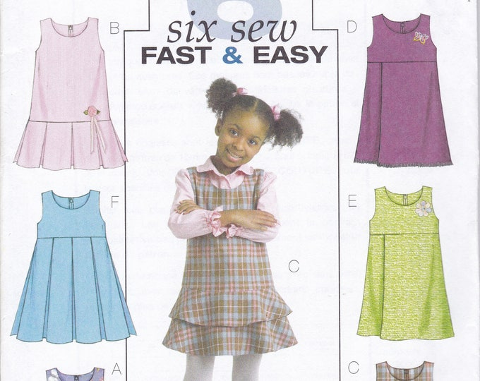 FREE US SHIP Butterick 4842 Sewing Pattern Girls Flounce Box Pleat Jumper Dres Size 4 5 6Factory Folded Out of Print 2006
