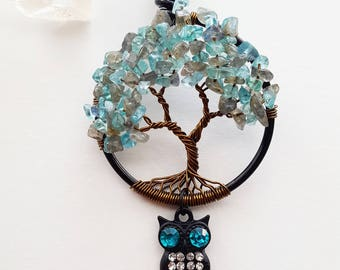 Peace at Midnight, Labradorite and Apatite Tree of Life Crystal Necklace