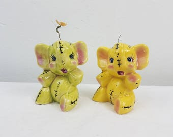Vintage Elephant Salt and Pepper Shakers Ceramic yellow and green kitsch retro
