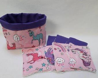Fabric basket with its 7 wipes model unicorns