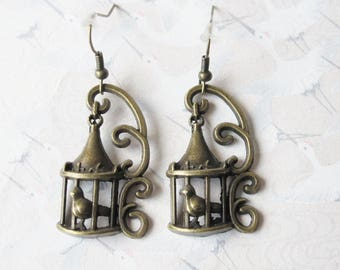 Antique bronze bird, animal jewelry bird cage earrings