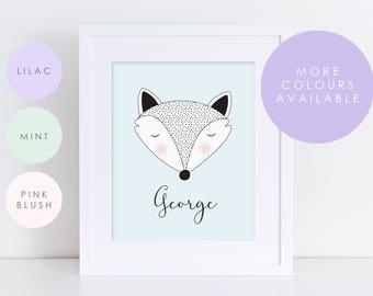Pastel Woodland Personalised Name/Colour - Nursery Print - Children's Wall Art - Baby Nursery Decor - Animal - Fox - Kids Room