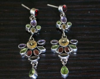 ON SALE Shapely Topaz, Garnet, Peridot Silver Earrings
