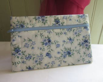 pouch bag, makeup pouch, liberty fabric bag, pouch, blue and green