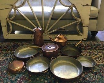 Lot of Copper Pots and Pans Vintage