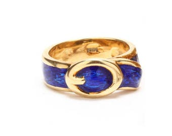 Estate 14K Yellow Gold Blue Enamel Buckle Ring Over 6 Grams Size 4 Mother's Day