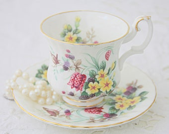 Vintage Royal Albert Bone China Country Life Series 'Spring Woods' Lady Size Cup and Saucer, England