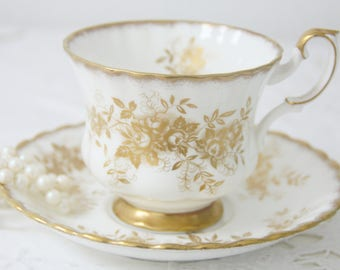 Vintage Royal Albert Bone China 'Antoinette' Gentleman Size Cup and Saucer, England