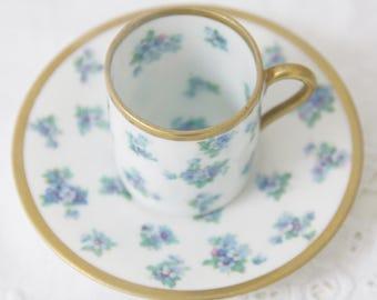 Beautiful Vintage Porcelain Demitasse Cup and Saucer, Blue Flower Decor, Beyer & Bock, Germany