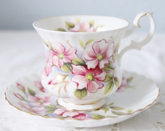 Vintage Royal Albert Bone China 'Wild Rose' Cup and Saucer, Lady Size, England
