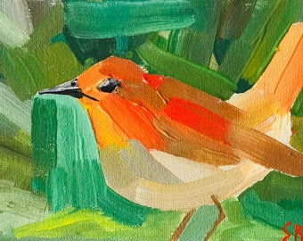 """Robin Painted In Oil """"5X7"""" Canvas Board  