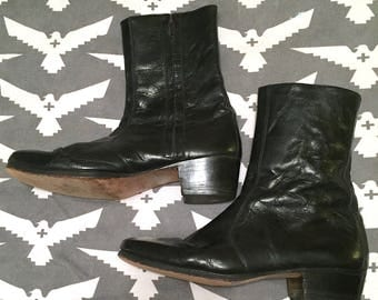 Vintage 1960s 1970s Italian Black Leather MOD Ankle Boots with Side Zippers by VERDE Designer Boots Hippie Festival Rocker