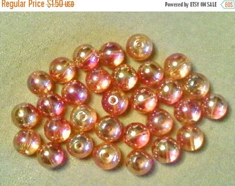 SALE Round glass beads;  stunning orange Glass luster beads with aurora borealis finish, 8mm, 8pcs/1.50.