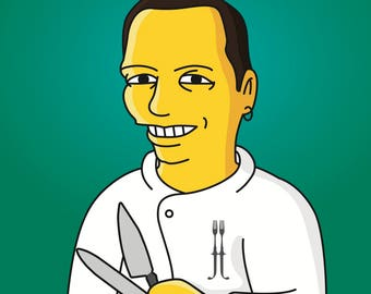 Chef Gift  - Custom Portrait from your Photo as Yellow Cartoon Character