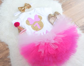Pink and Gold Minnie Mouse First Birthday outfit, minnie mouse tutu, ombree tutu, Pink minnie mouse, smash cake outfit