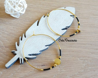 Brass plated hoop earrings beads Miyuki delica black sequin raw brass